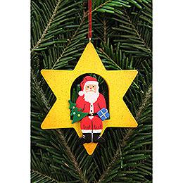 Christbaumschmuck Weihnachtsmann im Stern  -  9,5x9,5cm