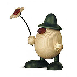 Egghead Father Rudi with flower standing, green  -  15cm / 5.9inch