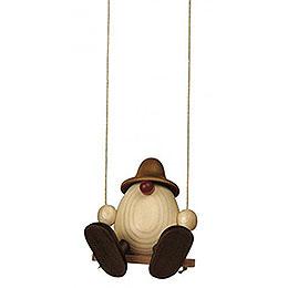 Eierkopf Bruno auf Schaukel, braun  -  11cm