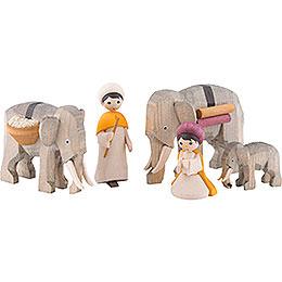 Elephant herders, set of five, glazed  -  7cm / 2.8inch
