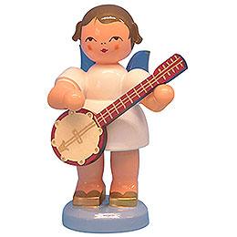 Engel mit Banjo  -  Blaue Flügel  -  stehend  -  9,5cm