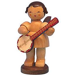 Engel mit Banjo  -  natur  -  stehend  -  9,5cm