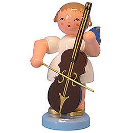 Engel mit Cello  -  Blaue Flügel  -  stehend  -  9,5cm