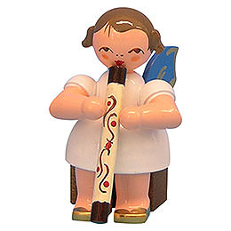 Engel mit Didgeridoo  -  Blaue Flügel  -  sitzend  -  5cm