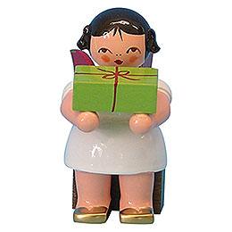 Engel mit Geschenk  -  Rote Flügel  -  sitzend  -  6cm