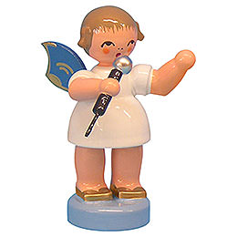Engel mit Mikrofon  -  Blaue Flügel  -  stehend  -  6cm