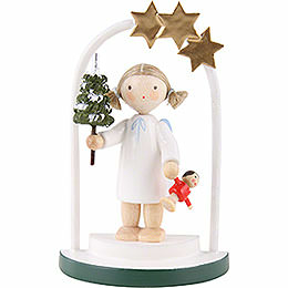 Flax haired angel in a star arch  -  5cm