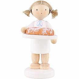 Flax haired angel with Christmas stollen  -  5cm