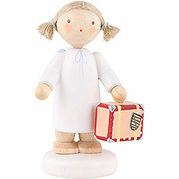 Flax haired angel with little suitcase  -  5cm