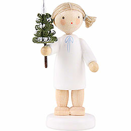 Flax haired angel with little tree   -  5cm