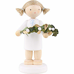 Flax haired angel with mistletoe  -  5cm