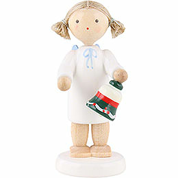 Flax haired angel with table bell  -  5cm