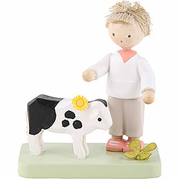Flax haired children boy with little calf  -  5cm / 2inch
