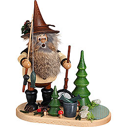 Forest gnome fisherman on oval plate  -  26cm / 10.2inch