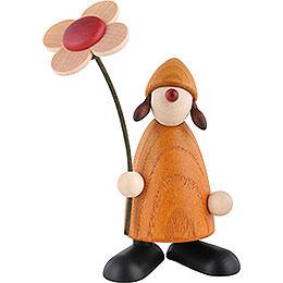 Gratulantin Susi mit Blume stehend, gelb  -  9cm