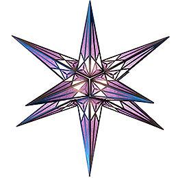 Hartenstein Christmas Star  -  White - Purple with Silver  -  68cm / 27 inch