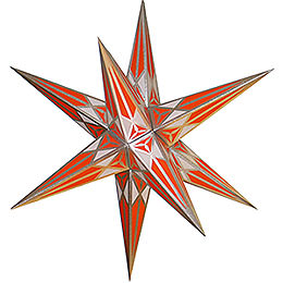 Hartenstein Christmas star  -  white - orange with silver  -  68cm / 27inch