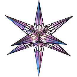 Hartenstein Christmas star  -  white - purple with silver  -  68cm / 27inch