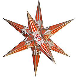 Hartensteiner Weihnachtsstern  -  weiß - orange mit silber  -  68cm