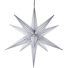 Hasslau Christmas star for outside use white with silver pattern  -  75cm / 30inch