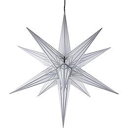 Haßlauer Weihnachtsstern Außenstern weiß mit Silbermuster  -  75cm