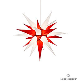 Herrnhuter Moravian star I6 white/red paper  -  60cm