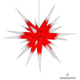Herrnhuter Moravian star I8 white with red core paper  -  80cm/31inch