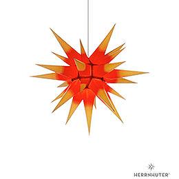 Herrnhuter Stern I6 gelb/roter Kern Papier  -  60cm