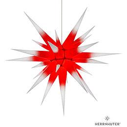 Herrnhuter Stern I8 weiß/roter Kern Papier  -  80cm