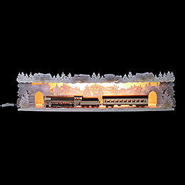 Illuminated stand 'Train ride through the Ore Mountains' with white frost for candle arches  -  75x20x15cm / 29.5x7.9x5.9inch