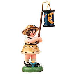 Lampion Girl with Blue Moon Lantern  -  8cm / 3 inch