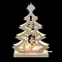 Lichterspitze  -  Mini - Baum Weihnachtsmarkt  -  LED  - 23,5 x 15,5 x 4,5cm