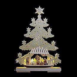 Lichterspitze  -  Tanne Christuskind mit Krippenfiguren  -  32x44x7cm