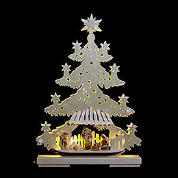 Light Triangle  -  Fir Tree with Nativity scene  -  32x44x7cm / 13x17x8 inch