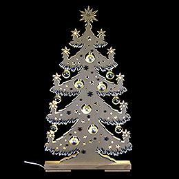 Light triangle fir tree with silver balls, grey, white frost  -  30,5x57,5cm / 12x22.6inch