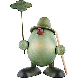 Little Green Man with four - leaf clover and stick, standing  -  11cm / 4.3inch