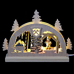 Mini LED Schwibbogen  -  Bergwerk  -  23x15x4,5cm