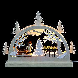 Mini LED Schwibbogen  -  Schlittschuhl�ufer  -  23x15x4,5cm