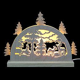 Mini LED Schwibbogen  -  Waldmotiv  -  23 x 15 x 4,5cm