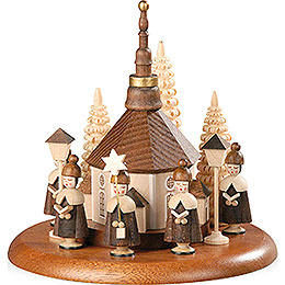 Motivplattform für elektr. Spieldose  -  Kurrende mit Seiffener Kirche natur  -  13cm