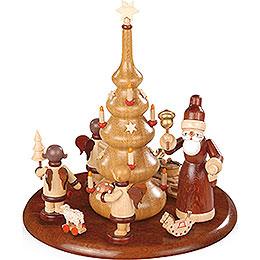 Motivplattform für elektr. Spieldose  -  Weihnachtsmann und Geschenkeengel natur  -  15cm