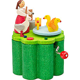 Music Box with Crank Duck Liesel  -  7cm / 2.8 inch
