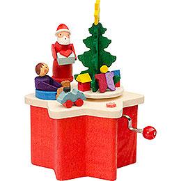 Music box with crank Santa Claus  -  7cm / 2.8inch