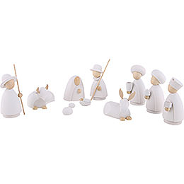 Nativity set of 10 pieces  -  modern white/natural  -  10cm / 4 inch