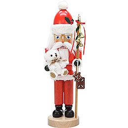 Nussknacker Weihnachtsmann mit Teddy lasiert  -  42cm