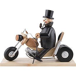Räuchermännchen Schornsteinfeger auf Motorrad  -  21cm