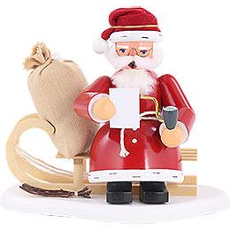 Räuchermännchen Weihnachtsmann auf Schlitten  -  15cm