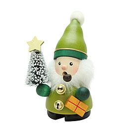 Räuchermännchen Weihnachtsmann grün  -  12cm