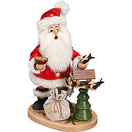 Räuchermännchen Weihnachtsmann mit Vogelhaus  -  22cm