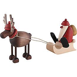 Rentier Rudolf mit Schlittenweihnachtsmann  -  12cm